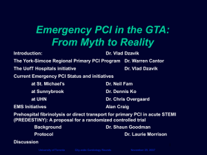 Hospital and EMS PCI status and initiatives