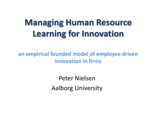 Managing Human Resource Learning for Innovation