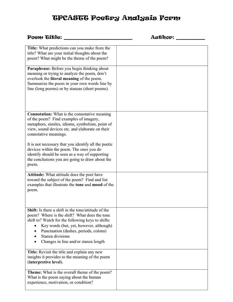 Tpcastt Poetry Analysis Form