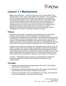Lesson 1.1 Mechanisms
