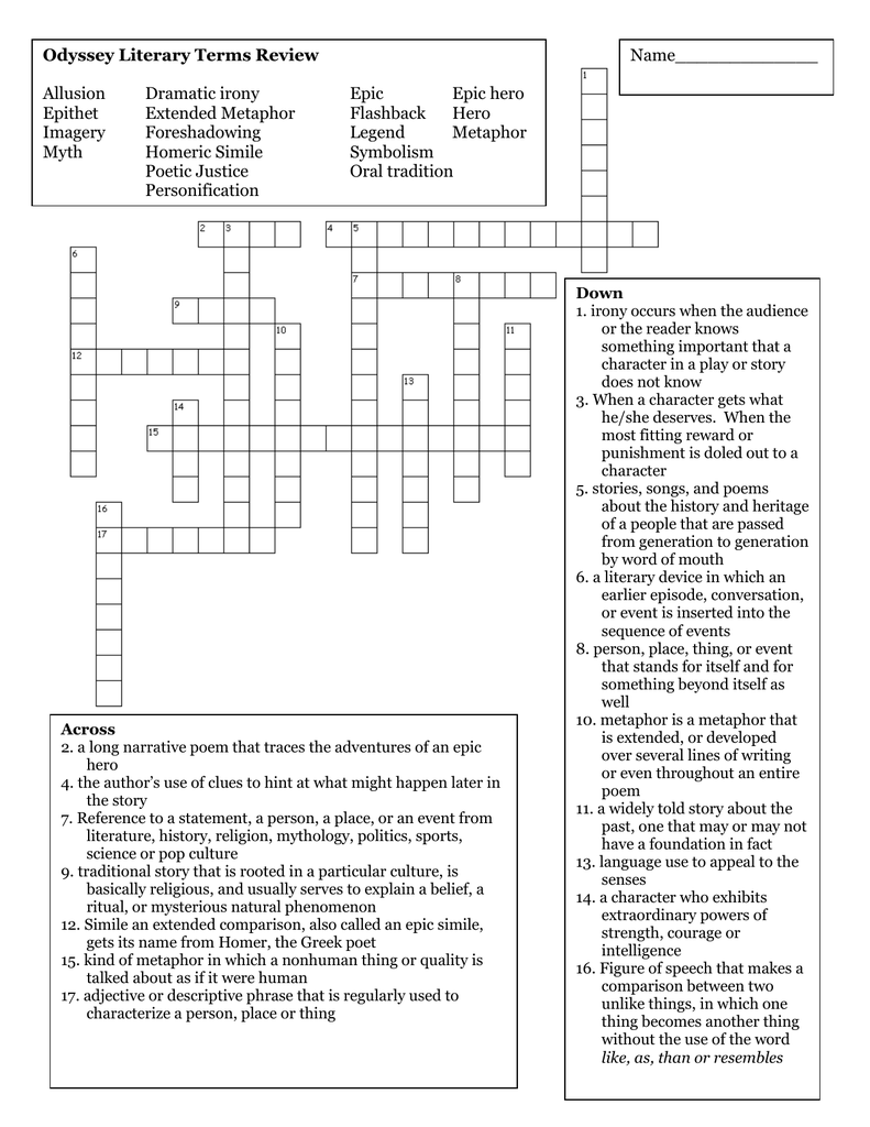 The Odyssey Literary Terms Crossword Puzzle