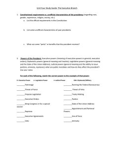 Unit Four Study Guide: The Executive Branch Constitutional