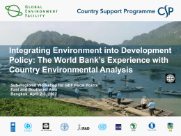 The World Bank's experience with Country Environmental Analysis