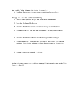 Ray model of light Chapter 23 Optics Homework 1 Read the chapter