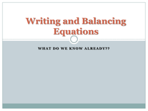 Writing a Balancing Equations