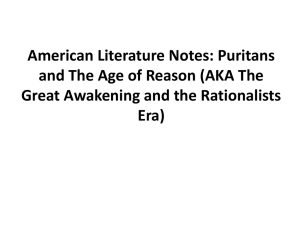 American Literature Notes: Puritans and The Age
