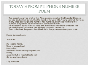 Today*s Prompt: Phone Number Poem