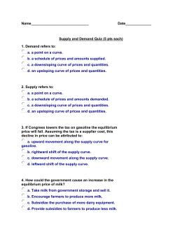 Determinants of supply and demand quiz