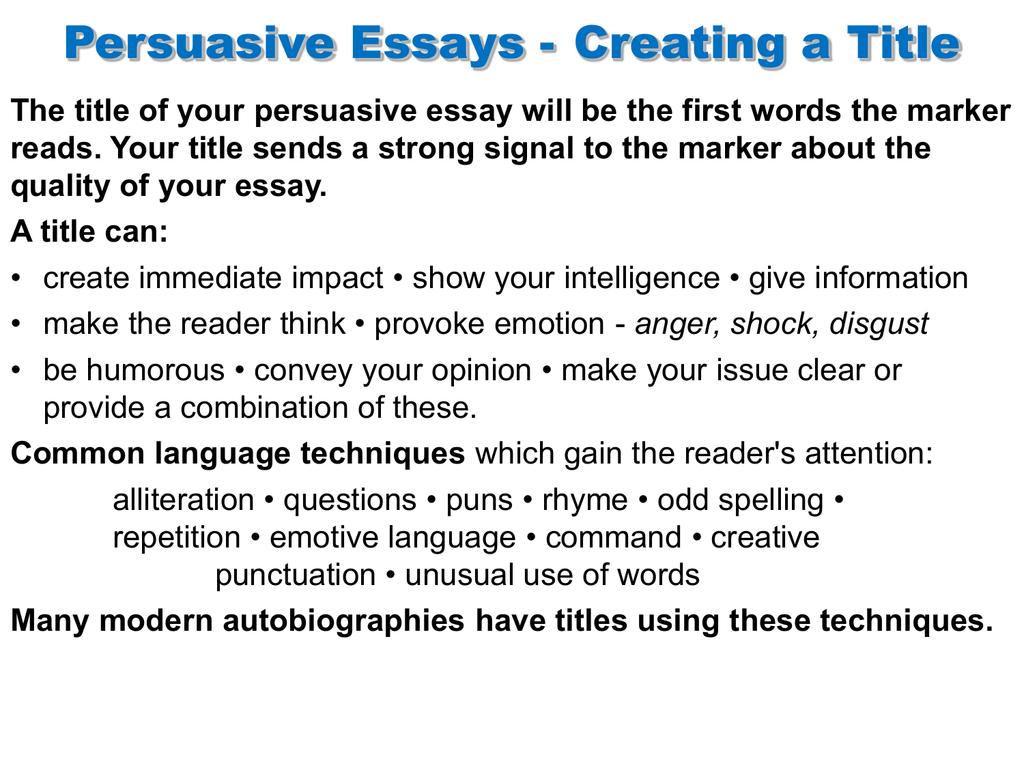 Persuasive essay titles matrix converter and phd thesis