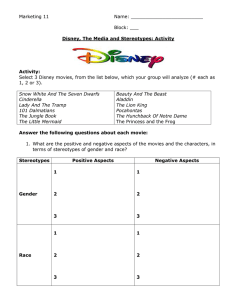 Disney The Media and Stereotypes Activity