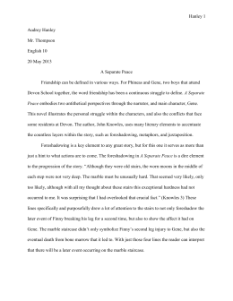 a separate peace by john knowles a separate peace essay