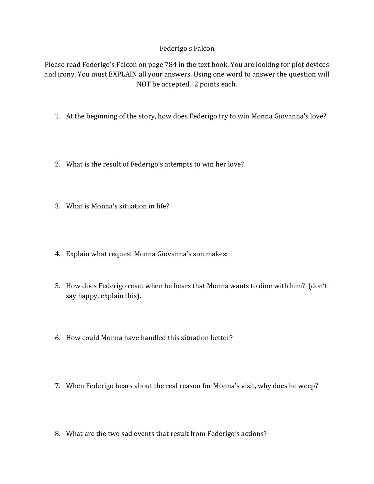 federigos falcon essay topics