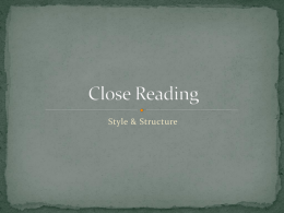 Structure & Style Close Reading Lens