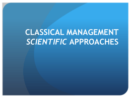 CLASSICAL MANAGEMENT APPROACHES SCIENTIFIC