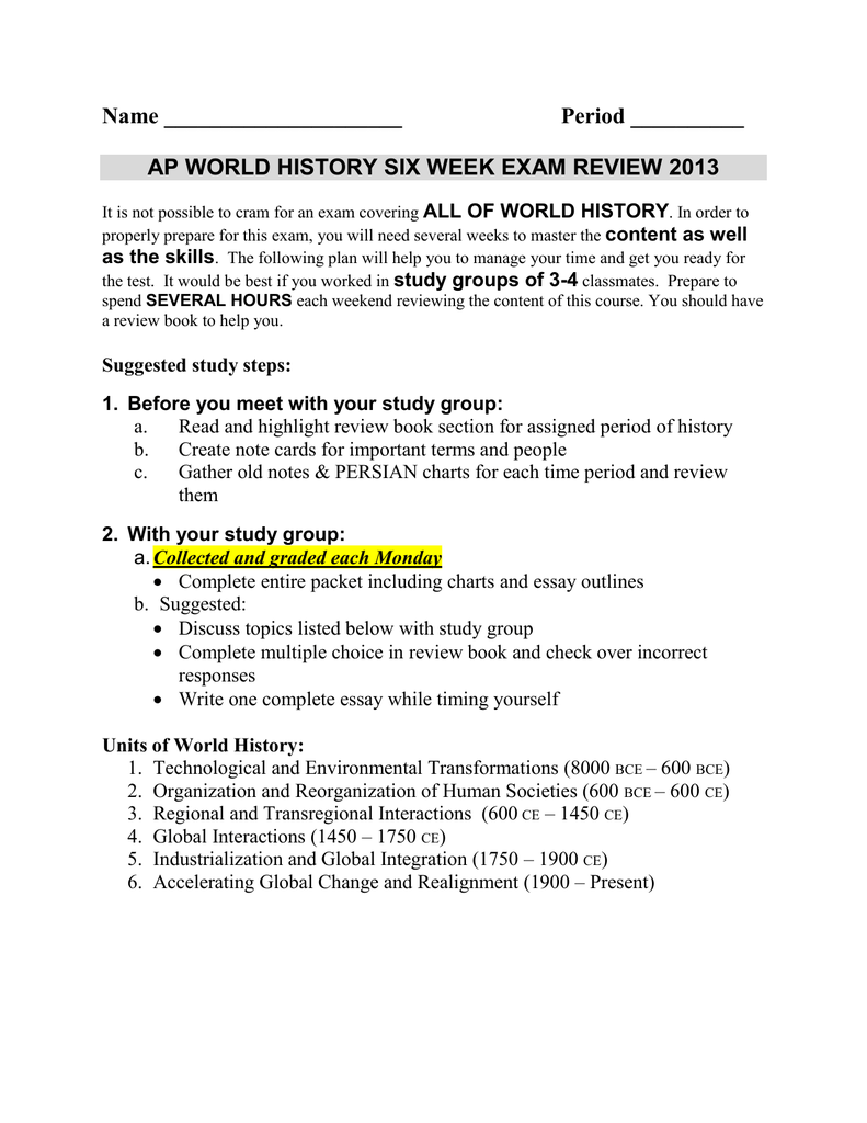 ap world history six week exam review