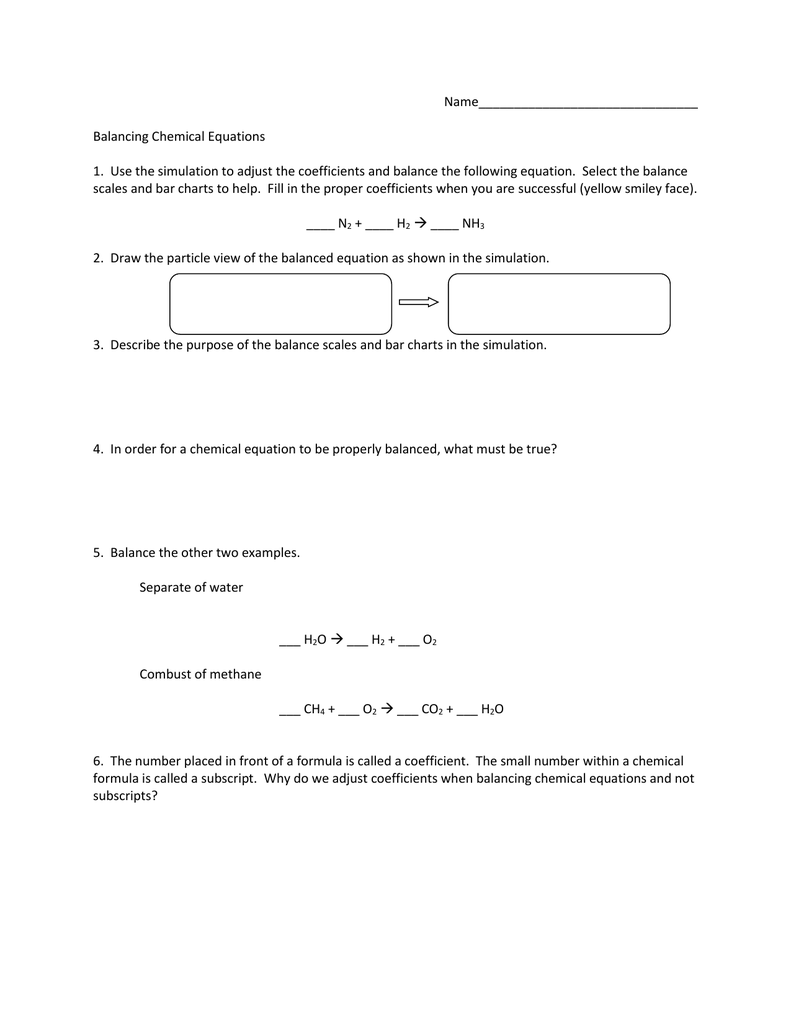 Balancing Chemical Equations Worksheet – Balancing Chemical Equations Worksheet 2