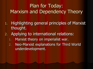 Topics for Today: Marxism and Dependency Theory