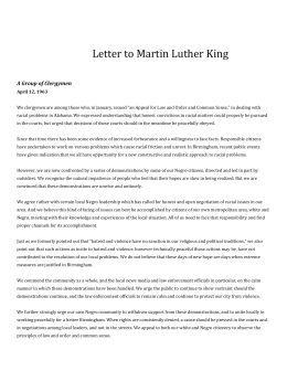 an introduction to the literary analysis of the letter from birmingham jail by martin luther king jr 'letter from birmingham jail' rhetorical analysis in april of 1963, martin luther king, jr, was jailed in birmingham, alabama for his efforts in the civil rights movement.
