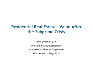 Residential Real Estate - Value After the Subprime Crisis