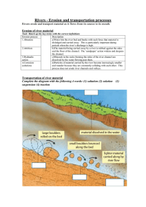 Rivers erosion and transportation wks