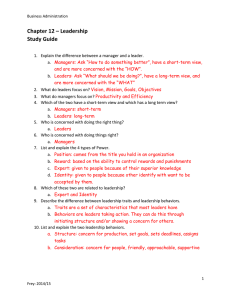 Chapter 12 – Leadership Study Guide
