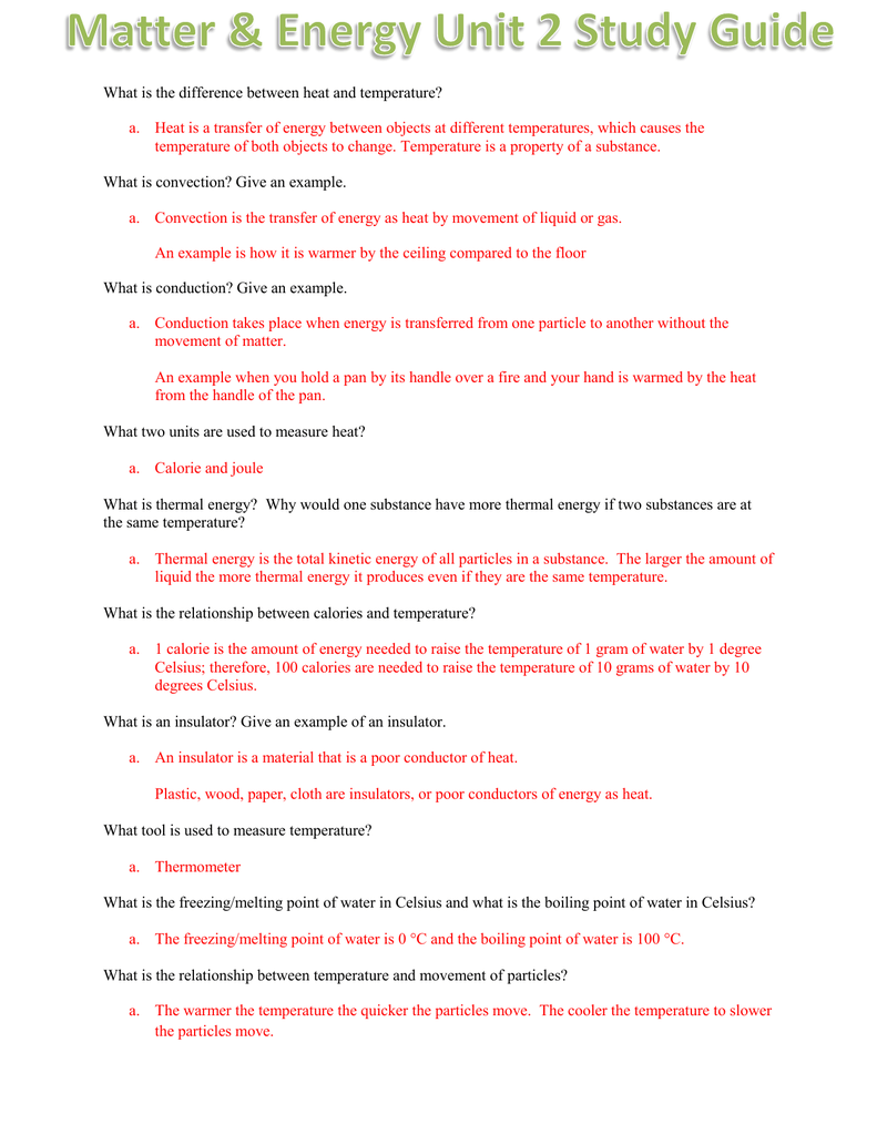 Matter & Energy Unit 2 Lessons 1
