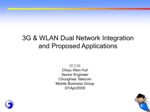 3G & WLAN Dual Network Integration and Proposed Applications