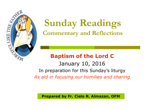 Homily for the Feast of the Baptism of the Lord January 10, 2016