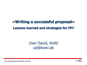 Writing a successful proposal« Lessons learned and strategies for FP7
