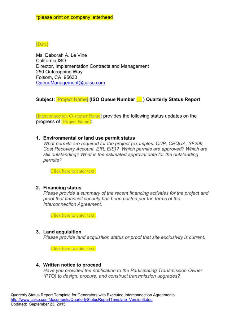 quarterly status report template