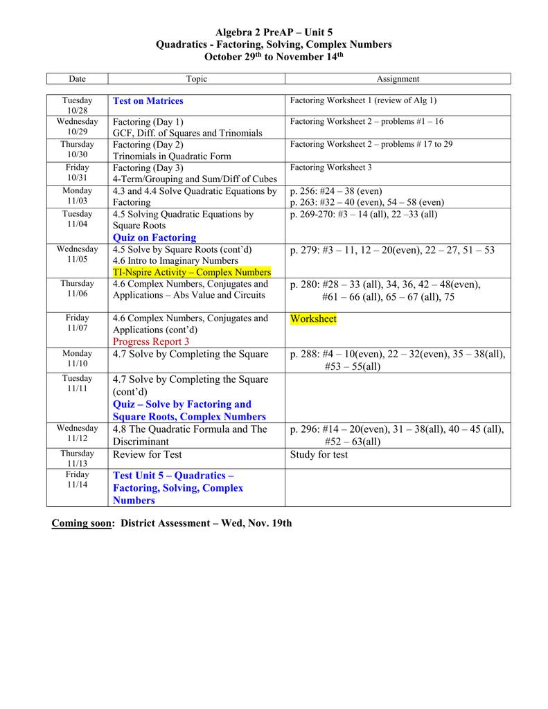 Honors Algebra II Assignment Sheet for September