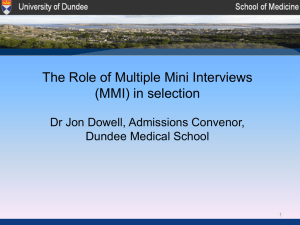 introduction to dundee's mmi process