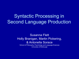 The representation and processing of syntactic structures in second