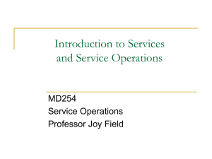 Introduction to Services and Service Operations