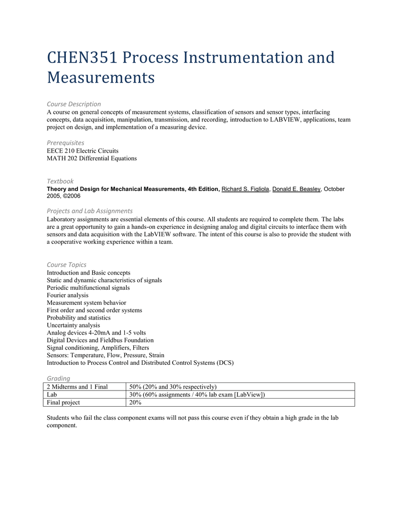 CHEN351 Process Instrumentation and Measurements Course