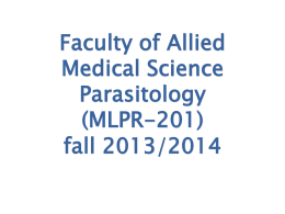 Faculty of Allied Medical Science Parasitology (MLPR-201)