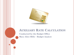 Auxiliary Rate Calculation - Budget Office