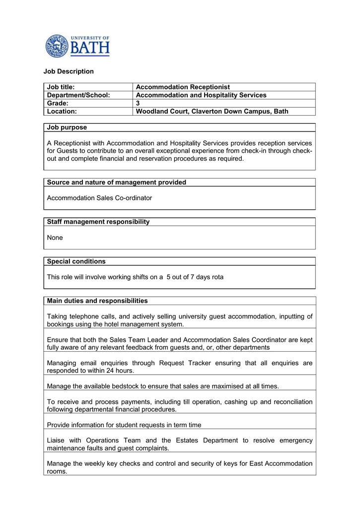 job description person specification