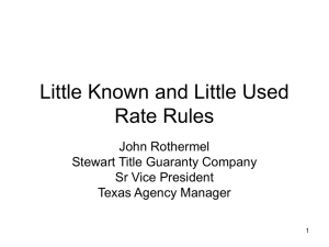 Little Known and Little Used Rate Rules