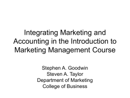 Integrating Marketing and Accounting in the Introduction to