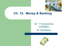 Ch. 12: Money & Banking Ppt