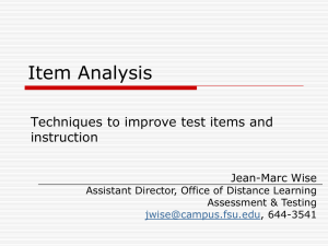 Item Analysis - Office of Distance Learning