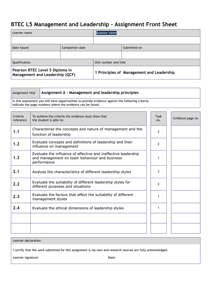 Unit 1 assignment A Leadership Management