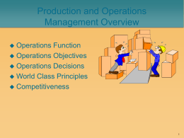 Production and Operations Management Overview