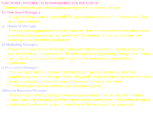 Fuctional Level Differences in Managerial Job