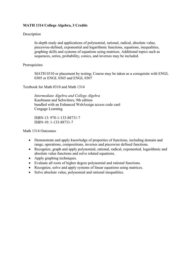 Math 1314 College Algebra 3 Credits Description In
