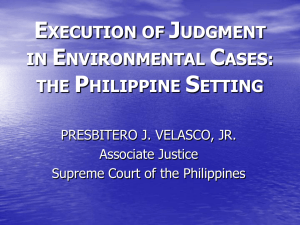 Execution in environmental cases, Philippine setting
