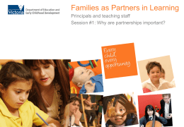 'Families as Partners in Learning' presentation for Principals and