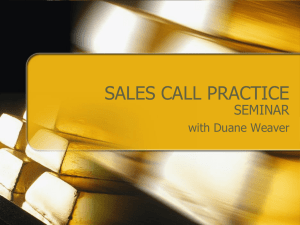 SALES CALL PRACTICE