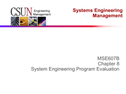 Chapter 6 - System Engineering Program Evaluation